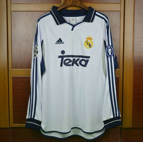 Vente Retro Maillot du Real Madrid Champions League 2000-01 Manche Longue Domicile