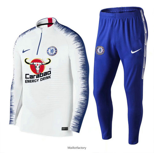 Pas cher Survetement Chelsea 2019/20 Blanc + Short Bleu Strike Drill