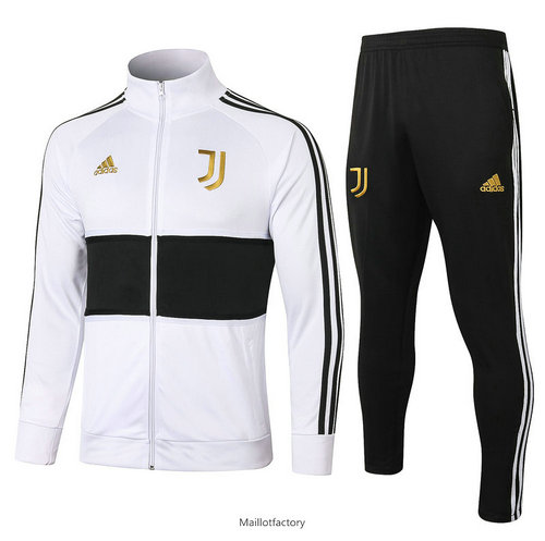 Prix Veste Survetement Juventus 2020/21 Blanc/Noir Or Badge Col Haut