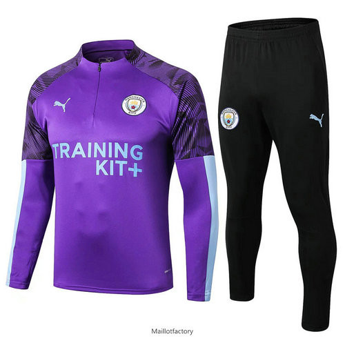 Pas cher Survetement Manchester City 2019/20 Violet + Short Noir