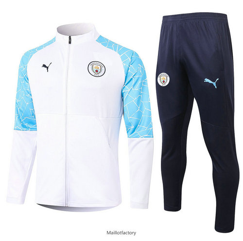 Soldes Veste Survetement Manchester City 2020/21 Blanc