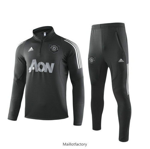 Flocage Survetement Manchester United 2019/20 Noir Col Haut sweat zippé