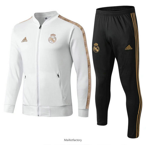 Flocage Veste Survetement Real Madrid 2019/20 Blanc/Jaune col bas