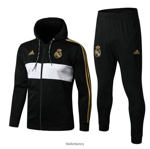 Achat Veste Survetement Real Madrid 2019/20 Noir/Blanc a Capuche