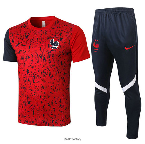 Soldes Kit d'entrainement Maillot France 2020/21 Rouge Rayon