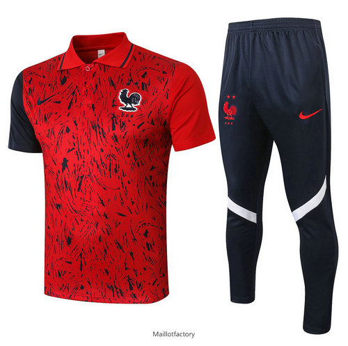 Achat Kit d'entrainement Maillot France POLO 2020/21 Rouge Rayon